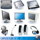 Computer icons 3. Computer color icons, peripheral units isolated on white background Royalty Free Stock Photo
