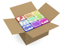Computer icons in the box - 3D Royalty Free Stock Images