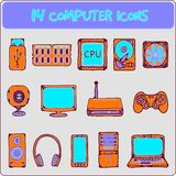 Computer icons. Color illustration of icons of computer equipment Royalty Free Stock Image