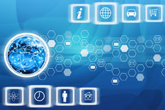 Computer icons with Earth globe. On abstract blue background Stock Photo