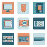Computer icons. Computer equipment and accessories vector icons set. Flat design with outlines of electronic devices. Modern technology concept Stock Photography