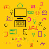 Computer icons flat line color Stock Photos