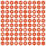 100 computer icons hexagon orange. 100 computer icons set in orange hexagon isolated vector illustration Stock Image