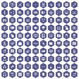 100 computer icons hexagon purple. 100 computer icons set in purple hexagon isolated vector illustration Stock Images