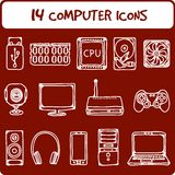 Computer icons. Illustration of icons of the computer equipment in sketch style Stock Photos