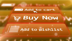 3 computer icons for internet shopping on a screen. Impressive 3D  illustration  of a light brown internet shop screen with  commands ADD TO CART,  BUY NOW, ADD Royalty Free Stock Images
