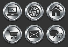 Computer Icons on Metal Internet Button Royalty Free Stock Images