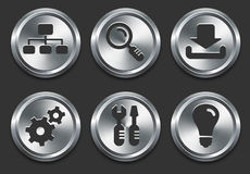 Computer Icons on Metal Internet Button Stock Photo