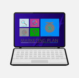 Computer and Icons phases of the marketing plan Royalty Free Stock Photos