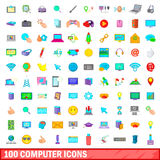100 computer icons set, cartoon style. 100 computer icons set in cartoon style for any design vector illustration Royalty Free Stock Image
