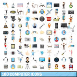100 computer icons set, cartoon style. 100 computer icons set in cartoon style for any design vector illustration Royalty Free Stock Photography