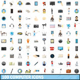 100 computer icons set, cartoon style. 100 computer icons set in cartoon style for any design vector illustration Stock Images