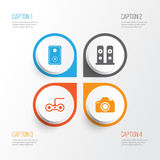 Computer Icons Set. Collection Of Camera, Loudspeakers, Audio Device And Other Elements. Also Includes Symbols Such As royalty free illustration