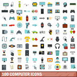 100 computer icons set, flat style. 100 computer icons set in flat style for any design vector illustration Royalty Free Stock Images