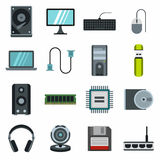 Computer icons set, flat style Royalty Free Stock Photo