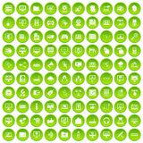 100 computer icons set green circle. Isolated on white background vector illustration Stock Images