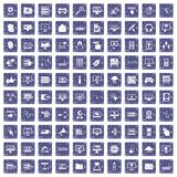 100 computer icons set grunge sapphire Stock Images