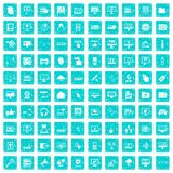 100 computer icons set grunge blue. 100 computer icons set in grunge style blue color isolated on white background vector illustration Stock Photos