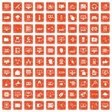 100 computer icons set grunge orange. 100 computer icons set in grunge style orange color isolated on white background vector illustration Royalty Free Stock Photo