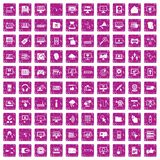 100 computer icons set grunge pink. 100 computer icons set in grunge style pink color isolated on white background vector illustration Stock Image