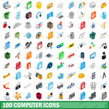 100 computer icons set, isometric 3d style Royalty Free Stock Photos