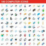 100 computer icons set, isometric 3d style. 100 computer icons set in isometric 3d style for any design vector illustration Royalty Free Illustration