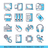 Computer icons set lines blue vector illustrat Stock Photography