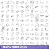 100 computer icons set, outline style. 100 computer icons set in outline style for any design vector illustration Stock Photography