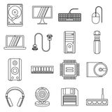 Computer icons set, outline style Stock Photos