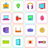 Computer icons set, pop-art style Royalty Free Stock Image
