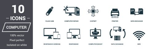 Computer icons set. Premium quality symbol collection. Computer icon set simple elements. Ready to use in web design, apps, softwa royalty free illustration
