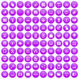 100 computer icons set purple. 100 computer icons set in purple circle isolated on white vector illustration royalty free illustration