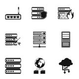 Computer icons set, simple style. Computer icons set. Simple illustration of 9 computer vector icons for web Stock Photo