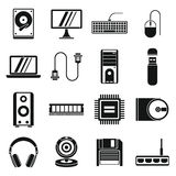 Computer icons set, simple style Royalty Free Stock Images