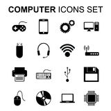 Computer icons set. Technology silhouette symbols. Vector  Stock Images