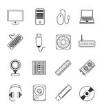 Computer icons set. Vector computer icons set 16 black color Stock Photography