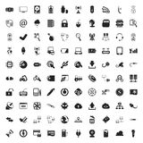 Computer 100 icons set for web. Flat vector illustration