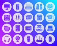 Computer shape carved flat icons vector set royalty free illustration