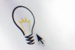 Computer Idea Light Bulb. A computer screen shows a light bulb indicating an idea Royalty Free Stock Photos