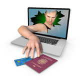 Computer Identity Theft of UK stlyle Passport and Credit Card Stock Image