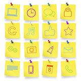 Computer-Ikonen auf Notizblock-Vektor Lizenzfreie Stockfotos