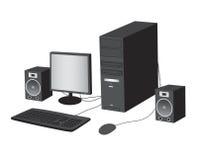 Computer illustration. Computer on white background, realistic vector illustration stock illustration
