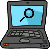 Computer illustration icon with search symbol Royalty Free Stock Photos