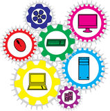Computer info graphic shaped in gears Royalty Free Stock Photos
