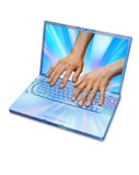 Computer Information Technology Hands Royalty Free Stock Photography