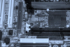 Computer inside. Motherboard, processor and other electronic computer components close up Stock Photography