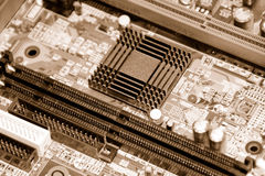Computer inside. Motherboard, processor and other electronic computer components close up Stock Image