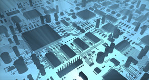 Computer inside, Fantasy circuit board. Technology illustration Stock Photography