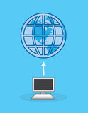 Computer Internet Earth. Computer connected to internet with earth symbol Royalty Free Stock Photo