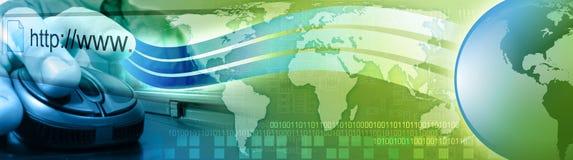 Computer-Internet-Mäusemann mit Erde Stockbild